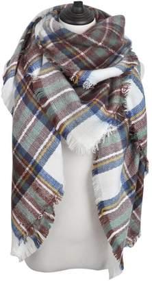 TrendsBlue Premium Winter Large Knit Plaid Checked Square Blanket Scarf Shawl Wrap