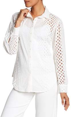 Nicole Miller Long Sleeve Collared Eyelet Shirt