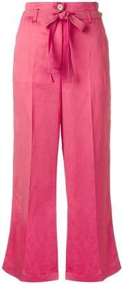 Twin-Set tie waist cropped trousers