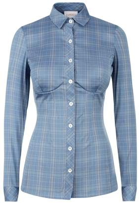 La Perla Daily Looks Light Blue Tartan Print Bustier Shirt With Built-In Bra
