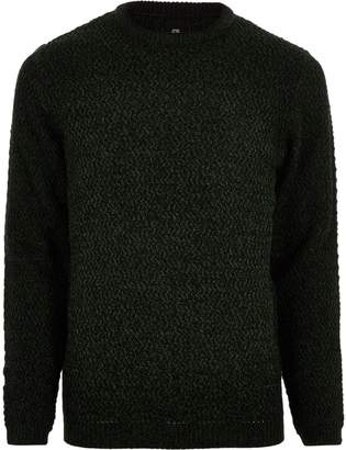 River Island Mens Big and Tall green slim fit textured jumper