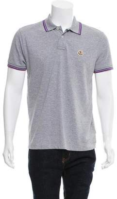 Moncler Logo-Embroidered Stripe-Accented Polo