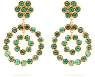 Sylvia Toledano - Malachite Embellished Hoop Drop Earrings - Womens - Green