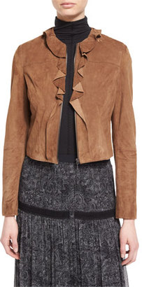 Elie Tahari Tosca Ruffled Cropped Suede Jacket, Amaretto $998 thestylecure.com