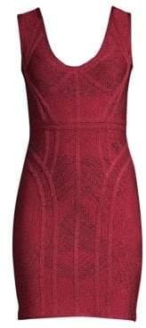 Herve Leger Jacquard Sheath Bandage Dress