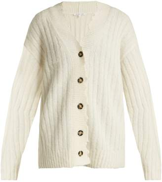 Helmut Lang Distressed ribbed-knit cardigan
