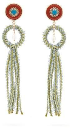 Etro Crystal Embellished Tassel Drop Earrings - Womens - Orange