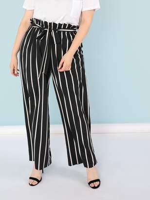 SheinShein Plus Ruffle Waist Vertical Stripe Flare Hem Pants