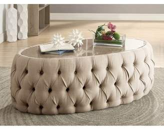 Furniture of America Racquelle Button Tufted Faux Marble Top Round Coffee Table