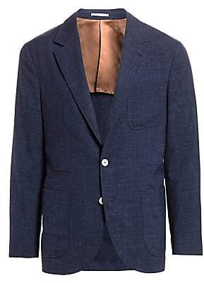 Brunello Cucinelli Men's Textured Solid Three Patch Pocket Silk, Wool & Linen Jacket