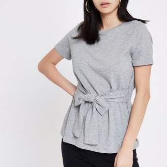 River Island Womens Grey fitted tie front T-shirt