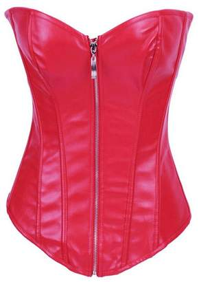 3fc554e2fb2 Zhitunemi Women s Sexy Shiny Faux Leather Overbust Zipper Corset Bustier  Basque Top Small