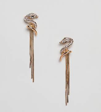 Glamorous statement snake drop fringe earrings