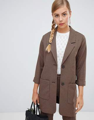 Monki longline blazer in brown check print