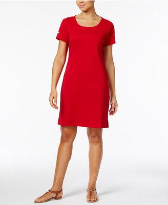 Karen Scott Cotton Button-Shoulder T-Shirt Dress, Only at Macy's $44.50 thestylecure.com