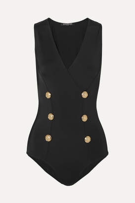 Balmain Button-embellished Stretch-jersey Bodysuit - Black