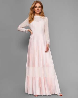 Ted Baker AVIIA Lace trim pleated maxi dress