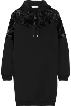 McQ Alexander McQueen - Devoré Velvet-paneled Cotton-jersey Hooded Mini Dress - Black $535 thestylecure.com