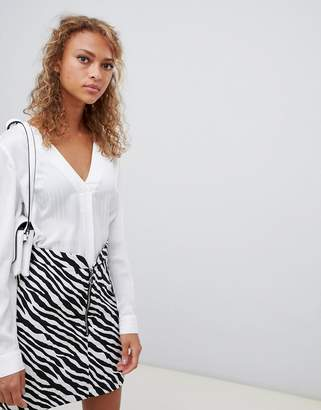 New Look stripe blouse in white