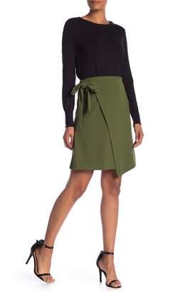 ECI A-Line Faux Wrap Skirt