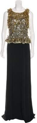 Jenny Packham Sequin-Embellished Sleeveless Gown