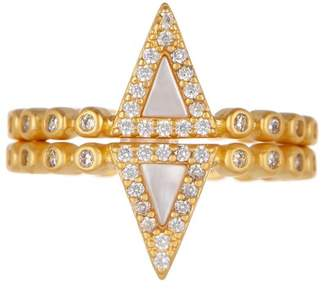Freida Rothman 14K Yellow Gold Plated Sterling Silver Pave CZ & Mother of Pearl Stacking Ring - Set of 2