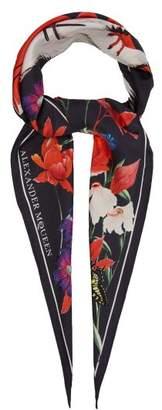 Alexander McQueen Garden Print Silk Scarf - Womens - Navy
