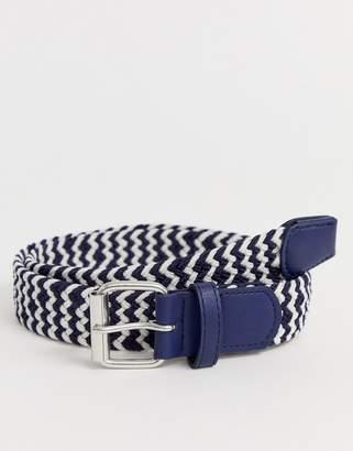 Asos Design DESIGN slim woven belt in navy and white