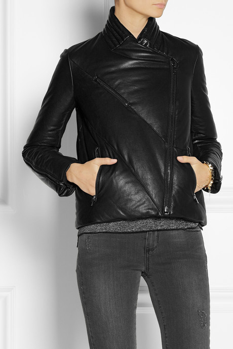 Helmut Lang Quilted leather down coat