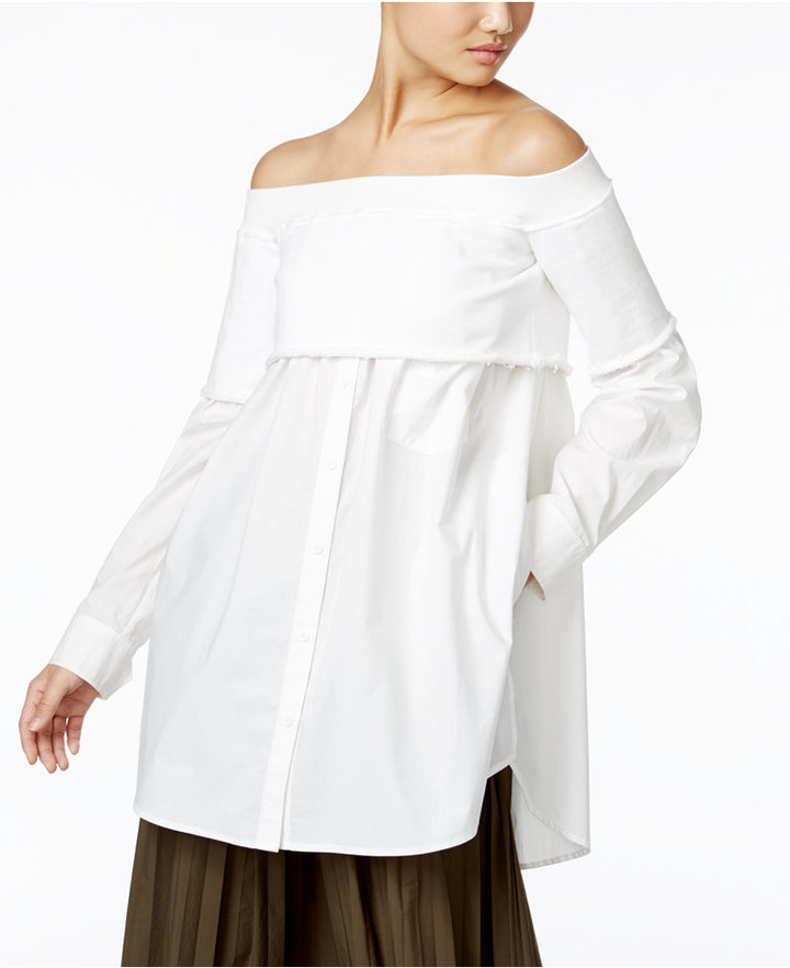 DKNY DKNY Cotton Layered-Look Off-The-Shoulder Blouse