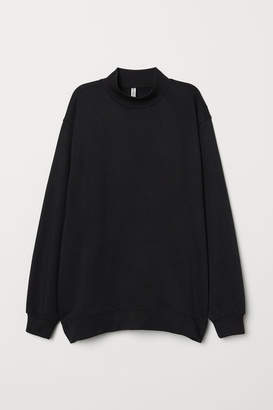 H&M Mock-turtleneck Sweatshirt - Black