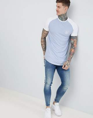 SikSilk Ribbed Curved Hem T-Shirt In Pastle Blue