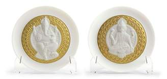 Lladro Goddess Lakshmi and Lord Ganesha Decorative Plate (Set of 2)