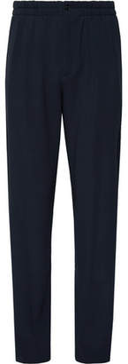 Giorgio Armani Storm-Blue Pleated Virgin Wool-Seersucker Drawstring Suit Trousers