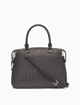 Calvin Klein monogram zip satchel