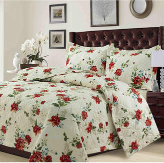 Tribeca Living Lyon Microfiber Floral Printed Oversized Twin Quilt Set