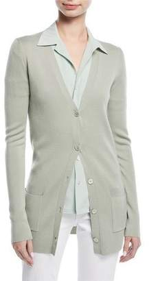 Ralph Lauren Button-Front V-Neck Wool-Silk Cardigan