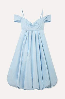 Simone Rocha Bell Cold-shoulder Gathered Taffeta Midi Dress - Light blue