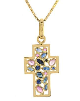 18K Yellow Gold 1.25 Ct Multicolor Sapphire Cross Pendant Necklace