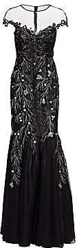 Teri Jon by Rickie Freeman Women's Cap Sleeve Illusion Sequin & Appliqué Tulle Mermaid Gown
