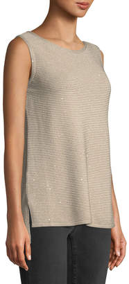 Lafayette 148 New York Shimmer Ribbed-Knit Sleeveless Tunic