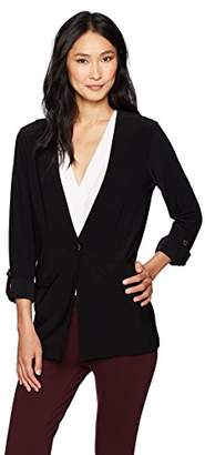 Chaus Women's Roll Tab Poly Span Two Pocket Jacket