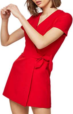 Miss Selfridge Tie Side Playsuit, Red