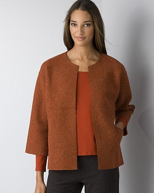 Eileen Fisher Women's Felted Alpaca Wool Melange Round Neck Jacket