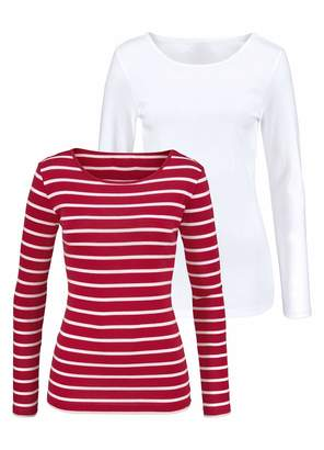 721527ad H HIAMIGOS Women's Long Sleeve Basic Scoop Neck Shirts Black Striped T-Shirt  + Solid