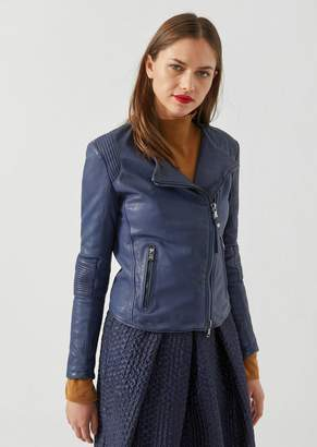 Emporio Armani Biker Jacket In Lined Leather