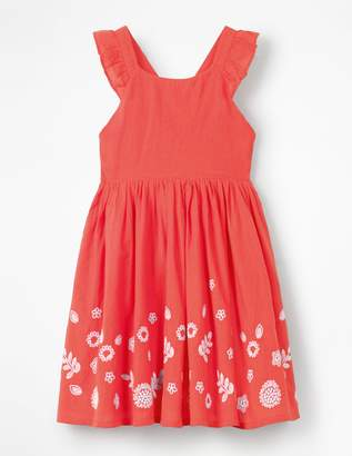 Boden Embroidered Cross-Back Dress