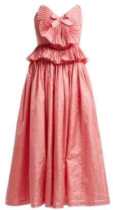 86a15d2d2 Gucci Pleated Trim Silk Blend Jacquard Gown - Womens - Pink