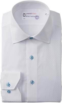 Lorenzo Uomo Diagonal Texture Trim Fit Dress Shirt