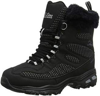 Skechers Women's D'Lites-Bomb Cyclone. Short Lace Up Boot with Fur Collar Fashion
